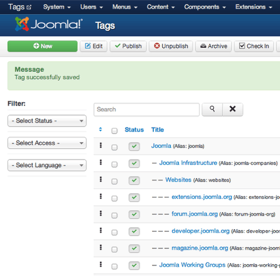 Screenshot of the Tags Component